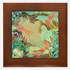 Colorful Dragonflies Framed Tile