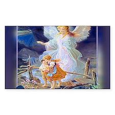 Guardian angel with children crossing bridge Stick