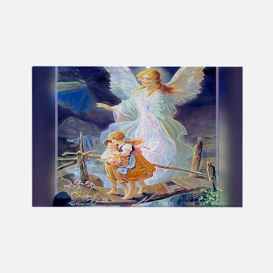 Guardian angel with children crossing bridge Magne
