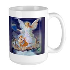 Guardian angel with children crossing bridge Mugs