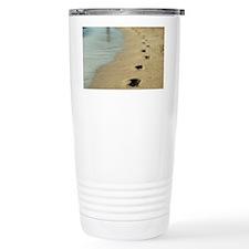 Footprints in wet beach Travel Coffee Mug