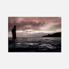Man watching a marine sunset Rectangle Magnet