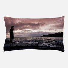 Man watching a marine sunset Pillow Case