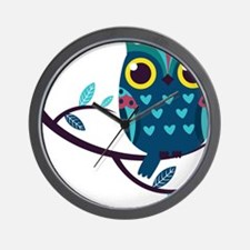 Dark Teal Owl Wall Clock