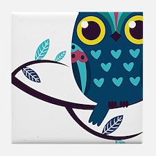 Dark Teal Owl Tile Coaster
