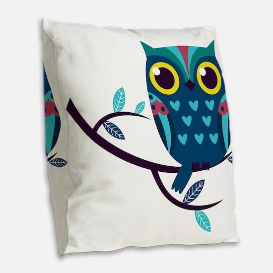 Dark Teal Owl Burlap Throw Pillow