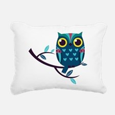 Dark Teal Owl Rectangular Canvas Pillow