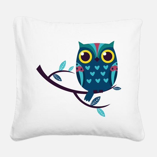 Dark Teal Owl Square Canvas Pillow
