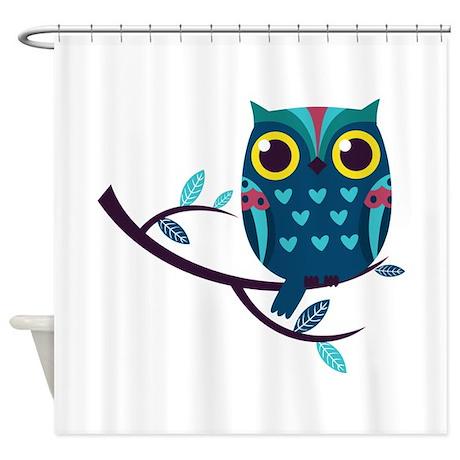 Dark Teal Owl Shower Curtain By WorldofAnimals