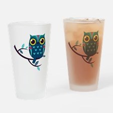 Dark Teal Owl Drinking Glass