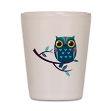 Dark Teal Owl Shot Glass