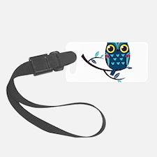 Dark Teal Owl Luggage Tag