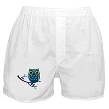 Dark Teal Owl Boxer Shorts