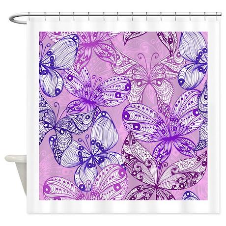 Purple Butterflies Shower Curtain By Alittlebitofthis1