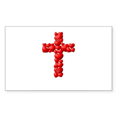 Red hearts Cross Rectangle Sticker