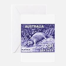Vintage 1956 Australia Platypus Postage Stamp Gree