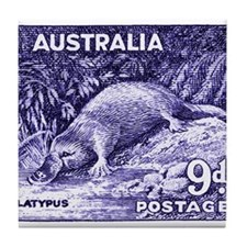 Vintage 1956 Australia Platypus Postage Stamp Tile