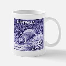 Vintage 1956 Australia Platypus Postage Stamp Mugs