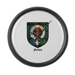 Forbes Clan Crest Tartan Large Wall Clock