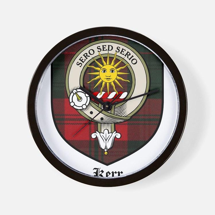 Kerr Clan Crest Tartan Wall Clock