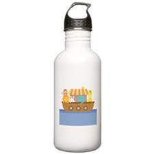 Colourful Noahs Ark with Cute Animals Water Bottle