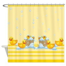Rubber Duckies Yellow Shower Curtain