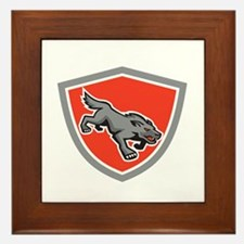 Angry Wolf Wild Dog Stalking Shield Retro Framed T