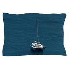 Catamaran moored offshore Pillow Case