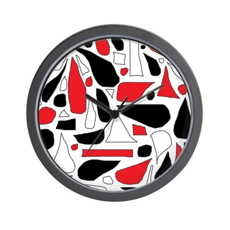 Silly red and black wall clock by stircrazy for Red and black wall clock