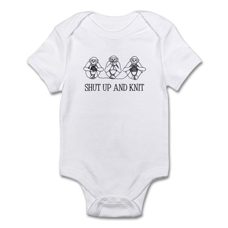 Shut Up and Knit Monkey Infant Bodysuit