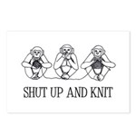 Shut Up and Knit Monkey Postcards (Package of 8)