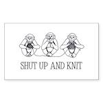 Shut Up and Knit Monkey Rectangle Sticker