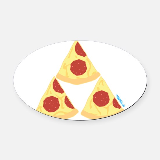 Pizza Triforce Oval Car Magnet