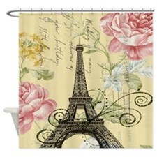 pink floral modern paris eiffel tower Shower Curta
