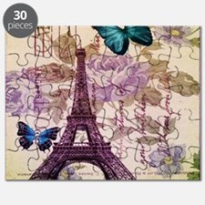 blue butterfly modern paris eiffel tower Puzzle
