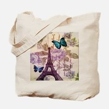 blue butterfly modern paris eiffel tower Tote Bag