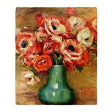 Renoir - Anemones in a Green Vase Throw Blanket