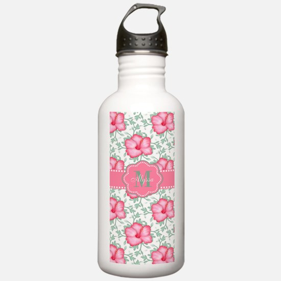 Pink Hibiscus Personalized Water Bottle