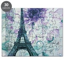 stamps purple floral modern paris eiffel tower Puz