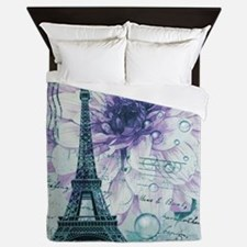stamps purple floral modern paris eiffel tower Que