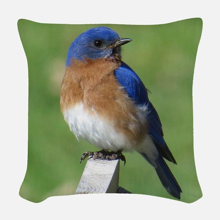 Bluebird Woven Throw Pillow