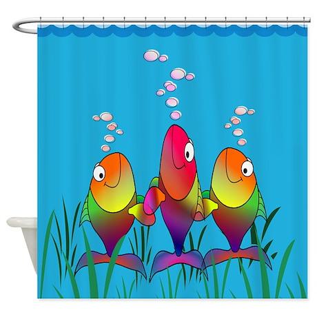 Happy Fish Cartoon Shower Curtain By ZazzlingHomeDecor