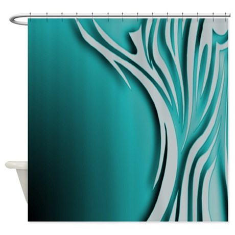 Large Zebra Stripes Teal And Gray Shower Curtain By