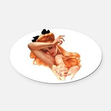 Sexy Pin Up Oval Car Magnet