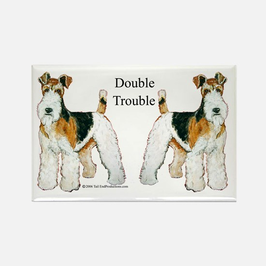 Double Trouble Wire Fox Terri Rectangle Magnet