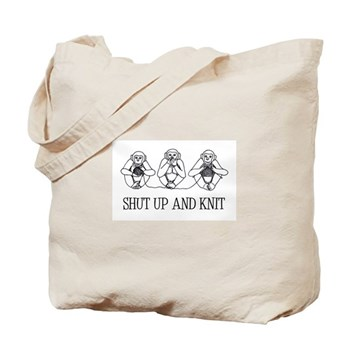 Shut Up and Knit Monkey Tote Bag