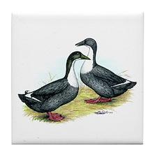 Blue Swedish Ducks Tile Coaster