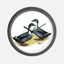 Blue Swedish Ducks Wall Clock