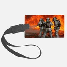 3 Firefighters fighting a fire Luggage Tag