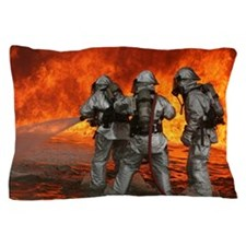 3 Firefighters fighting a fire Pillow Case
